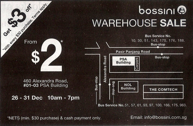 Bossini Warehouse Sale
